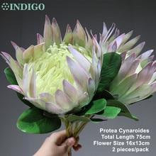 INDIGO  2 pcsแสงสีม่วงProtea cynaroidesขนาดใหญ่Real TOUCHดอกไม้ประดิษฐ์ดอกไม้งานแต่งงานPARTY Dropshipping
