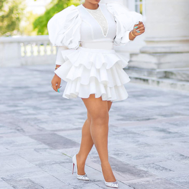 African Women Plus Size White Dress Vintage Puff Sleeve Cute Ruffle Tiered Layered Summer Spring Ladies Party Club Mini Dresses