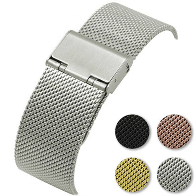 Milanese Watch Band Stainless Steel Woven Strap Watchband 16mm 18mm 20mm 22mm Belt Mesh Webbing Accessories