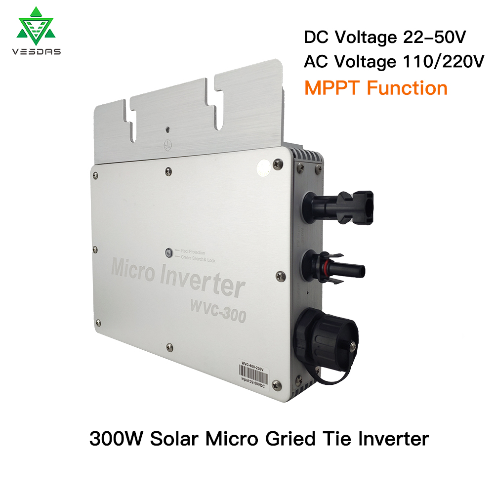 WVC300 Solar Power Panel  Inversor Micro MPPT Grid Tie Inverter 24V 220V Pure Sine Wave Inverter 22-50VDC Wtih 1 Year Warranty