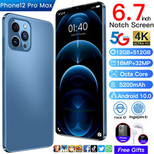 6,7 дюймов I12 Pro Max 12G + 512G Otca 10-ядерный 5G 5200 мА/ч, 16MP + 32MP 4K Батарея Face ID отпечатков пальцев Смартфон Android 10 MTK6875