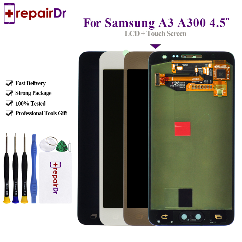 Original LCD For Samsung Galaxy A3 2015 A300 A300F A300M LCD Display+Touch Screen Digitizer Assembly+Button For Samsung A3 Lcd