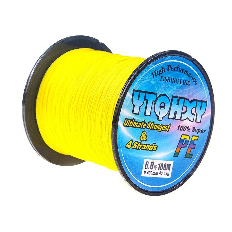 4 серии, 100 метров, сильная Конская леска, основная леска, PE леска, ткацкая рыболовная снасть, кайт леска, многофиламентная рыболовная леска - Цвет: Цвет: желтый