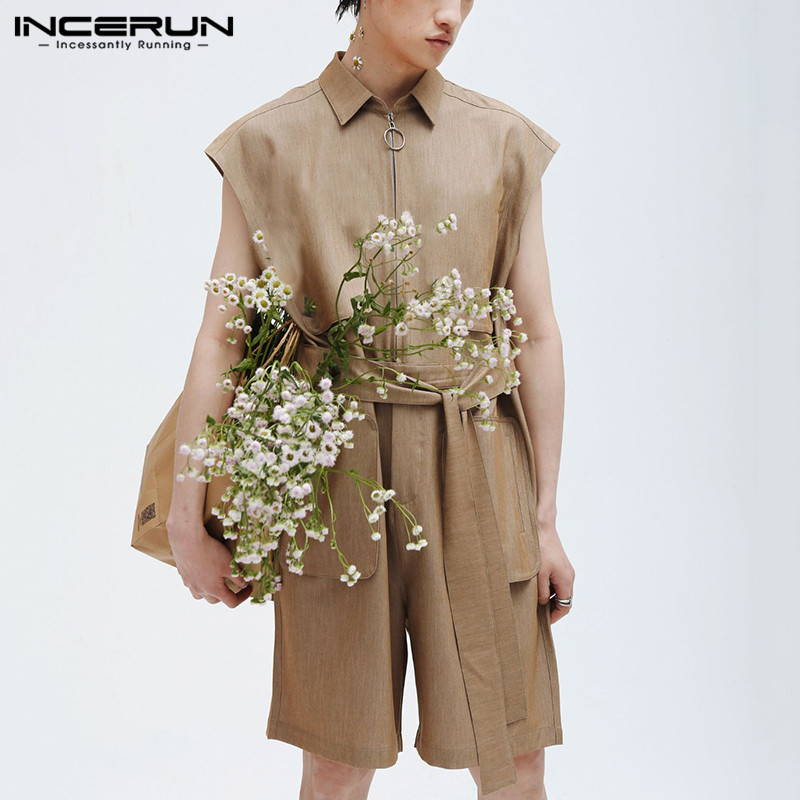 INCERUN Fashion Men Rompers Sleeveless 2020 Solid Zipper Lapel Pockets Overalls Shorts Chic Personality Men Jumpsuit Streetwear