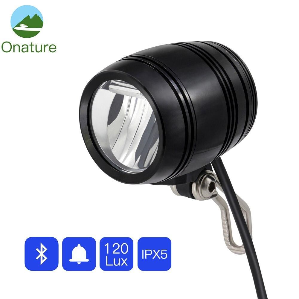 Onature Electric Bicycle Light With Bluetooth Speaker Horn EBike Front Light 120 lux DC12V 36V 48V 60V 80V LED ebike Light|Electric Bicycle Accessories| |  - title=