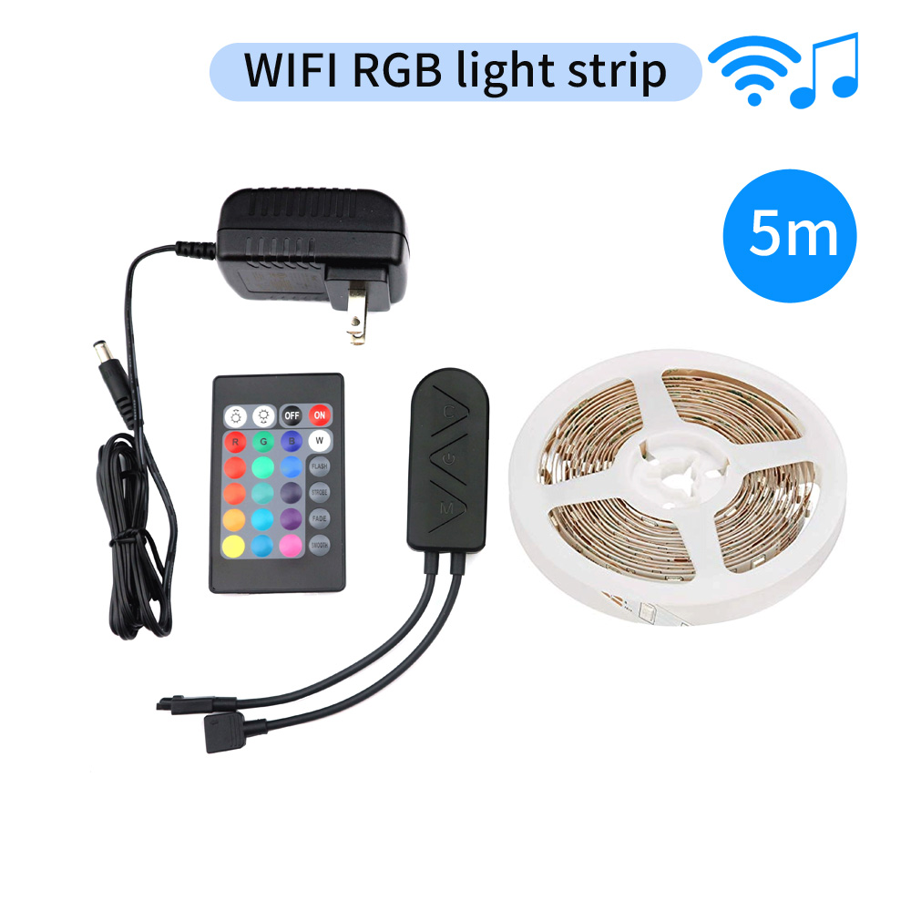 LED-Strip-Light RGB Tape DC12V 5M SMD5050 RGB Strips Light Flexible LED Tape IR WIFI Controller
