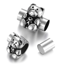 Stainless Steel Magnetic Clasps Cute Bear 8mm Hole Clasp Magnet Buckle for DIY Bracelet Clousure Jewelry Making Accessories stainless steel magnetic clasps hole 12 6mm for leather cord bracelet magnet clasp buckle diy jewelry making supplies accessory