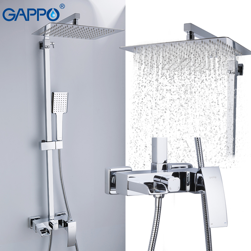 GAPPO Shower Faucets Brass Bathroom Shower Set Wall Mounted Massage Shower Head Bath Mixer Bathroom Shower Faucet Taps G2407-20