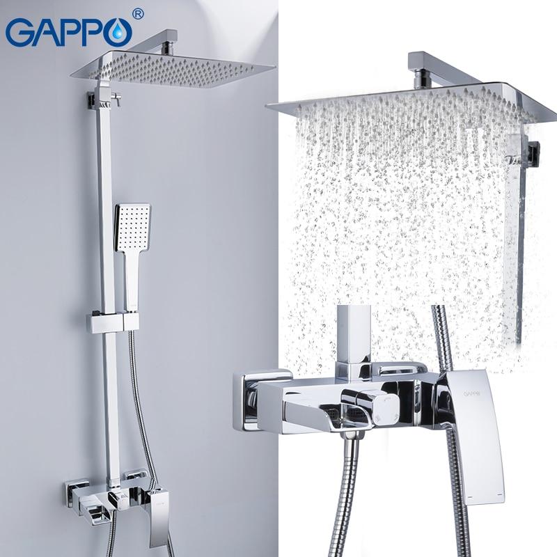 GAPPO Shower Faucets Brass Bathroom Shower Set Wall Mounted Massage Shower Head Bath Mixer Bathroom Shower Faucet Taps G2407-20