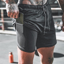 Men's Sports Shorts Muscle Brothers Fitness Sports Shorts Double Layer Stretch Quick-drying Casual Large Size Pure Color