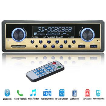 Radio samochodowe 1 din Radio samochodowe Coche Bluetooth Stereo Audio odbiornik FM USB SD AUX Autostereo MP3 odtwarzacz multimedialny elektroniki samochodowej tanie i dobre opinie HIEI 2 5 4X50W FY-1688 0 45kg W desce rozdzielczej Aluminum+plastic+Electronics Tuner radiowy Angielski 87 5-108MHz 12 v