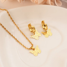 Gold Africadubai india Butterfly Jewelry Sets For Women Pendant Necklace Earrings bijoux femm PNGbridal party jewellery girlgift(China)