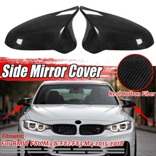 2PCS Real Carbon Fiber Car Side Mirror Cover Outside Rearview Mirror Cover Caps Replacement For BMW F80 M3 &F82 M4 2015-2018
