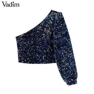 Image 2 - Vadim womne moda Sexy lentejuelas shinny blusa de un solo hombro elástico lado cremallera femenina parte de desgaste tapas cortas blusas LB724