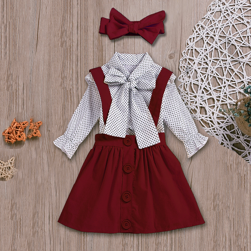 Habd58e003ad94ec8bd3aec56bd0c4a197 - HE Hello Enjoy Baby Girls Clothes Sets Summer Dot Flying Sleeve Shirt+Strap Dresses+Headband Kids Children's Clothing Suit