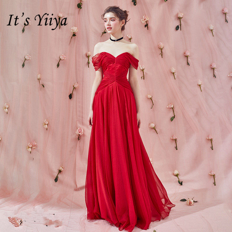 It's Yiiya   Evening     Dresses   Elegant Boat Neck Short Sleeve Robe De Soiree A-Line Plus Size Off Shoulder Women Party   Dresses   E772