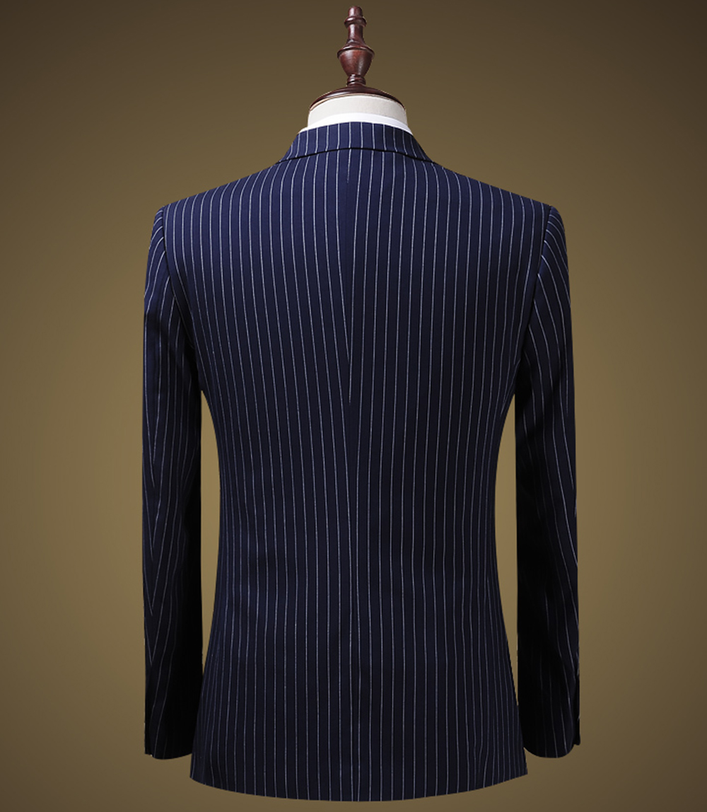 Suits Men 2019 Mens Suit 3 Piece V Neck Pinstripe Wedding Groomman Notched Lapel Tuxedos (Blazer+Vest+Pants) - 3