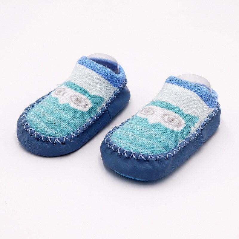 Г. Модные детские носочки с резиновой подошвой, носки для младенцев осенне-зимние детские носки-тапочки для новорожденных нескользящие носки с мягкой подошвой - Цвет: Blue owl