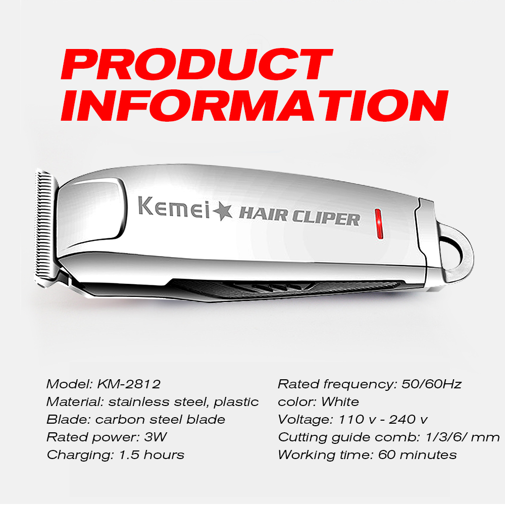 Mini Hair Clipper 0mm Kemei Electric Trimmer Professional Haircut Shaver KM-2812 Carving Hair Beard Trimer Machine Styling Tools