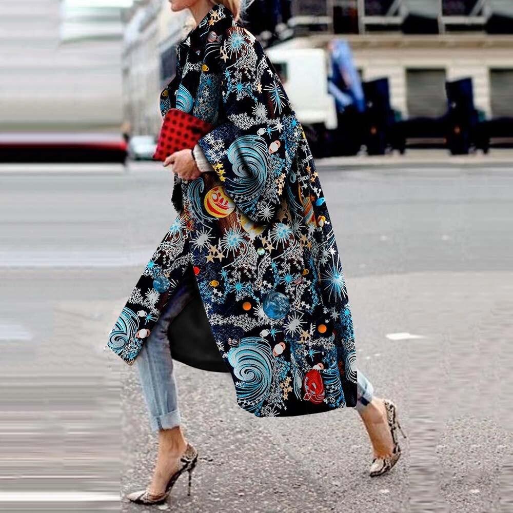 Star Print Fashion Trench Coat Women Long Coats Fall Winter Plus Size Flare Sleeve Designer Boho Streetwear Casual Overcoat 2019