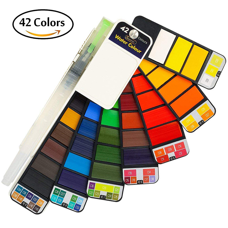 Superior 18/25/33/42 Solid Watercolor Paint With Water Brush Pen Set Foldable Travel Watercolor Pigment For Draw Art Supplies