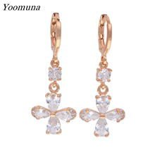 Popular Dangle Earrings for women Water Drop white earrings cubic zirconia Crystal flower rose gold 585 drop Earrings gifts 2019 gold earrings with topaz and cubic zirconia 725148 sunlight test 585