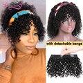 Kurze Lockige Bob Stirnband Perücke 14 Inch Natürliche Farbe 100% Menschliches Haar Perücke mit Abnehmbare Pony Scalf Perücke 2 In 1 perücke Longqi Haar