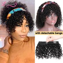 Короткие вьющиеся боб парик с головной повязкой с диагональю 14 дюймов натуральный Цвет 100% человеческих волос парик со съемной челки Scalf пар...