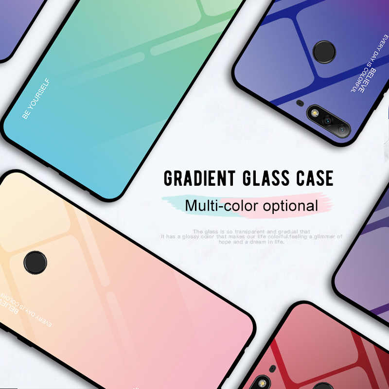 Stained Tempered Glass Case for Honor 20 10 Lite 9 Light 10i 20i 8X 8A 7A 7C Gradient Case for Huawei Y9 2019 Y6 Y5 Y7 2018 Capa