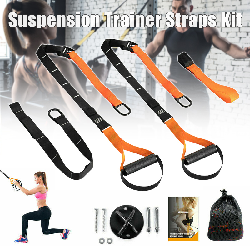 High Suspension Trainer Straps Kit Resistance Band Bodyweight Home Workout Exercise Fitness Straps New DOG88