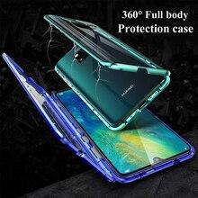 Huawei Mate 20 용 자기 흡수 플립 케이스 20Pro 20lite 전화 뒷면 커버 금속 유리 Mate20 Mate20Pro Mate20Lite Pro Lite