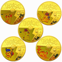 Japanese Anime Pokemon Cards Pikachu Gold Plated Gold Coin Game Collection Cards