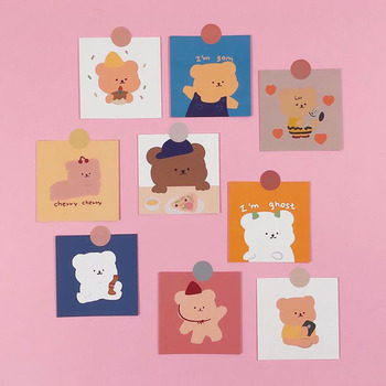9 Pcs/pack Lovely Candy Bear Cards Bedroom Wall Decoration Girl Non-sticky Greeting Card Postcard Korean Stationery Gift - discount item  29% OFF Printing Products