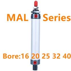 Mini cylindre pneumatique série MAL 16/20/25/32/40mm alésage 25-500mm course Double effet cylindre d'air en alliage d'aluminium livraison gratuite