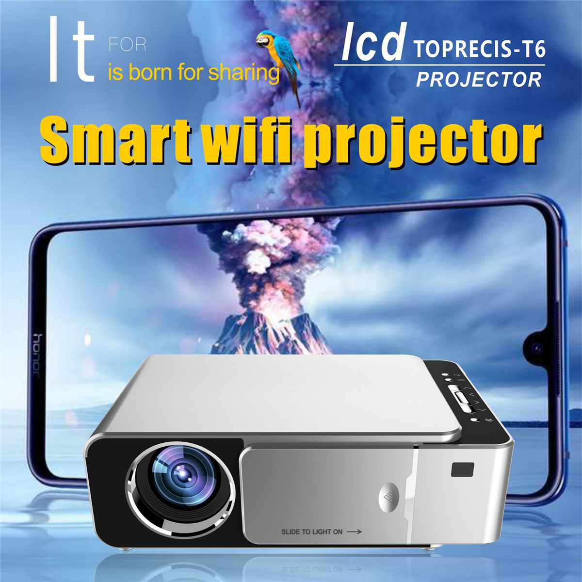 3D LED Projector 1280*720 Portable HD Mobile Phone Wireless Home Theater HDMI/USB/SD Remote Control Home Theatre Projector 70W