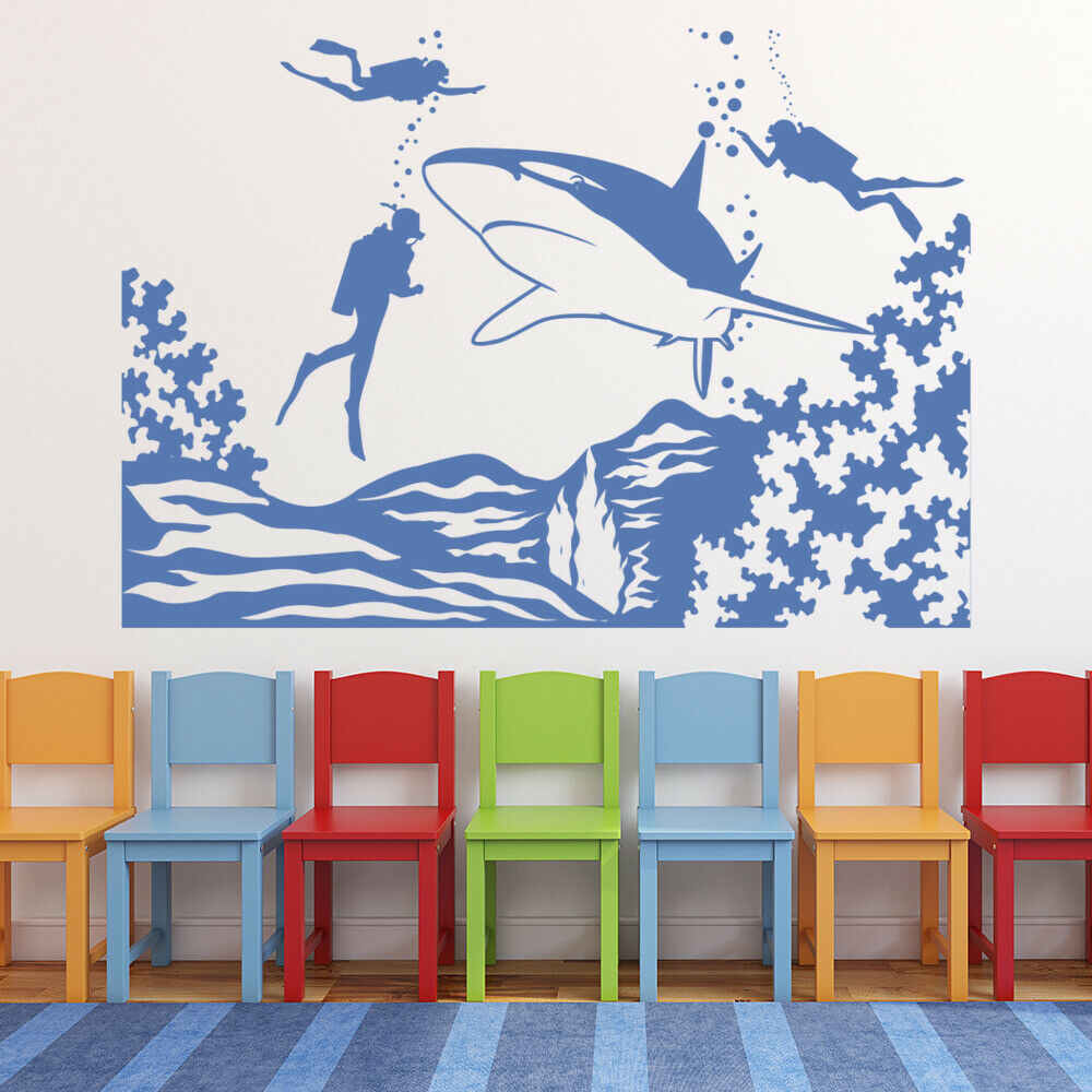 The Underwater World Wall Decal Diving Scene Shark Marine Life Theme Vinyl Glass Sticker Kids Room Aquarium Interior Decor M986 image