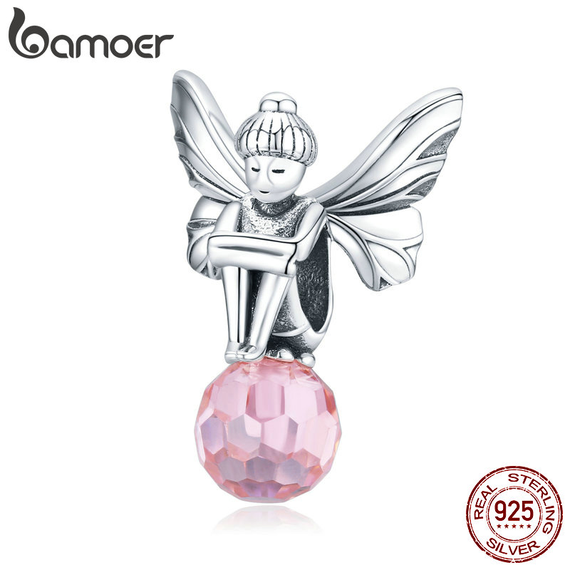 Bamoer Authentic 925 Sterling Silver Flower Elf Fairy Charm Fit Original Brand Bracelet Silver Jewelry Accessories SCC1483