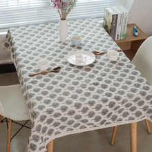 Lanke Linen table cloth rectangular Waterproof Oilproof With Tassel , Dining Tablecloth for Home  Christmas Birthday Party