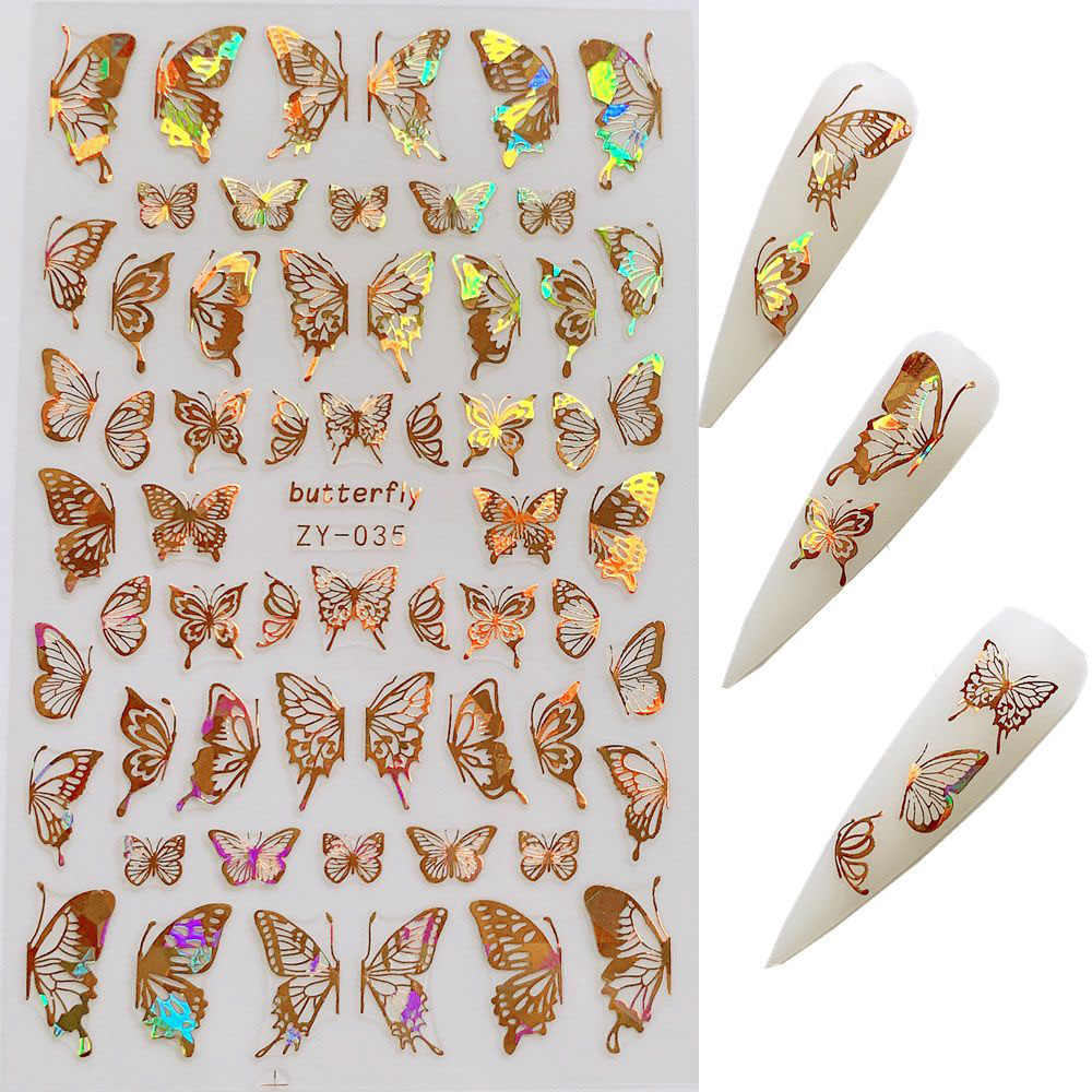 1pc Nail Art Laser Gold and Silver Butterfly Sticker Spring Summer Butterfly Designs Manicure ZY