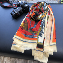 Orange Scarf 100% Cashmere Scarves Palace Printing Winter Shawls Wraps Lady Hijabs Female Pashimina 200*100cm