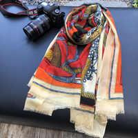 Oranje Sjaal 100% Kasjmier Sjaals Paleis Afdrukken Winter Sjaals Wraps Lady Hijaabs Vrouwelijke Pashimina 200*100cm