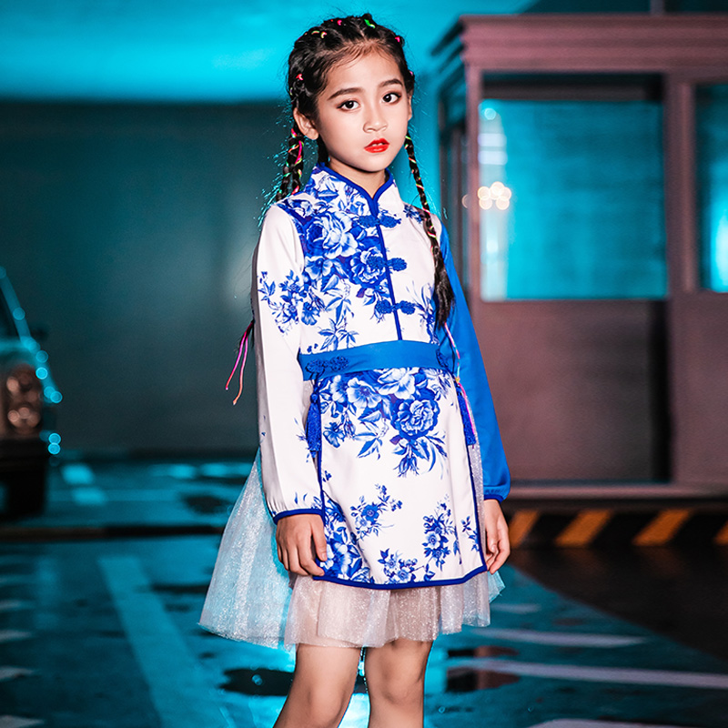 Jazz Dress For Girls Long Sleeve Dress Blue And White Porcelain Stage Outfit Jazz Hip Hop Dress Kids Performance Wear VDB1090