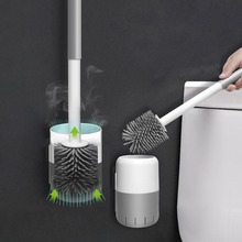 TPR Toilet Brush And Holder Wall-mounted Long Handle Cleaning Toilet Brush Holder Set Household Bathroom Accessories set tpr silicone toilet brush and toilet quick drain cleaning brush tool household toilet bathroom accessories set