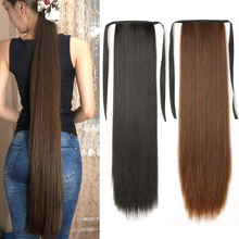 Super Long Straight Clip In Tail False Hair Ponytail Hairpiece With Hairpins Synthetic Pony Tail Extensions For Women Ponyt