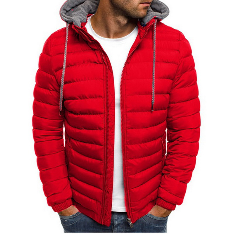 Mens Fashion Winter Hooded Jackets Coat Padded Thicken Warm Lightweight Parkas 2019 New Males Solid Color Windproof Jackets