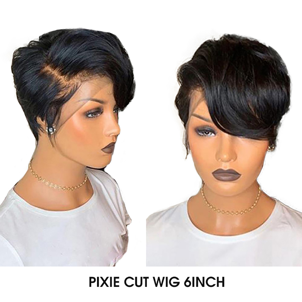 Maxine Pixie Cut Wig 13x4 Short Bob Lace Front Human Hair Wigs Pre Plucked With Baby Hair For Black Women 150 Density-in Human Hair Lace Wigs from Hair Extensions & Wigs