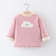 Милая зимняя Вельветовая футболка с длинными рукавами для маленьких девочек; коллекция года; теплая От 0 до 3 лет для малышей; детский утепленный пуловер принцессы; топы; S10201