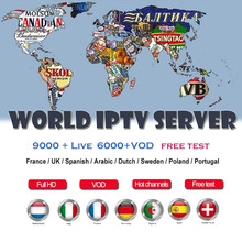 цена на IP tv subscription iptv 9000 active channel free test  for ip tv ltaly UK Poland France Support IPTV m3u android smart tv box