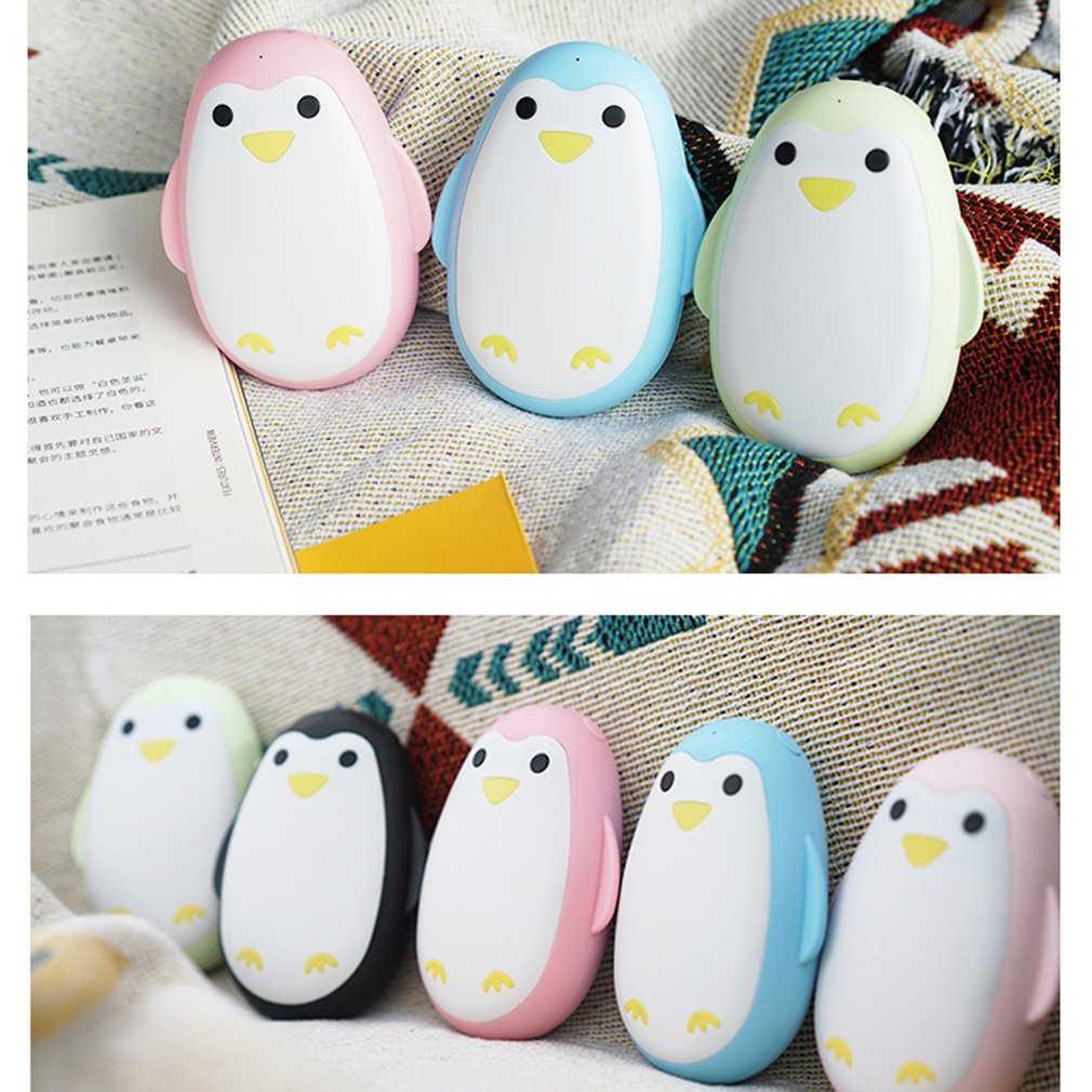 5200mAh USB Hand Warmer Power Bank PVC Penguin-shaped Mobile Phone Charger Portable Winter Body Warmer Warmth Handy