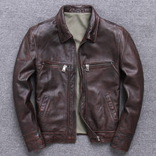 Vintage Mens Genuine Leather Jackets and Coat Motorcycle Real Cow Cowhide Casual Brown Jacket jaqueta de couro Plus Size 4XL(China)